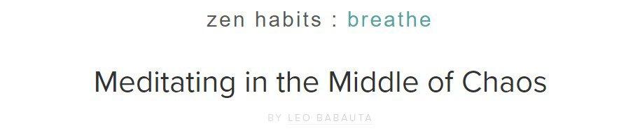 Simple tagline in Zen Habits blog