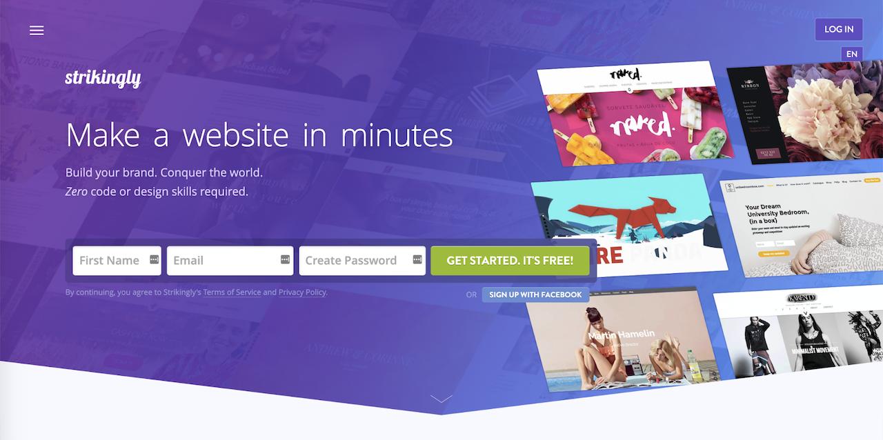 Strikingly website builder landing page