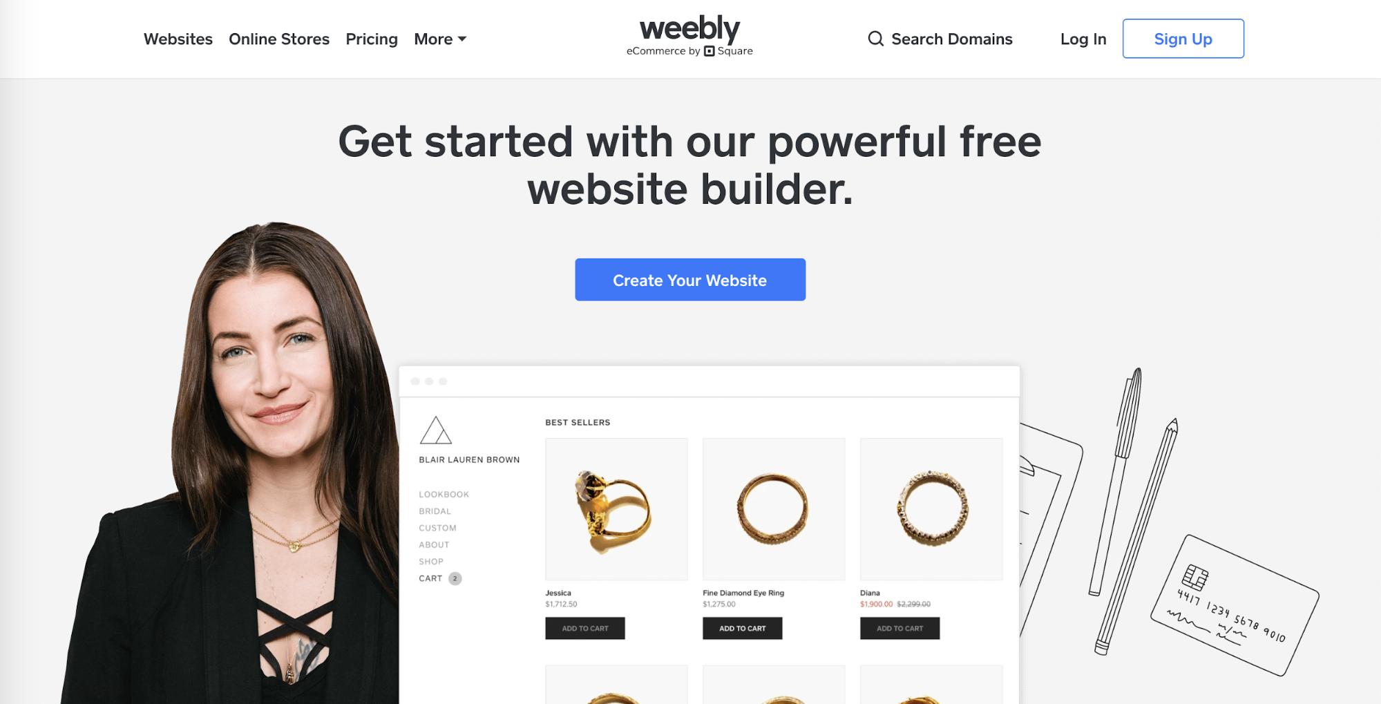 Weebly website builder landing page