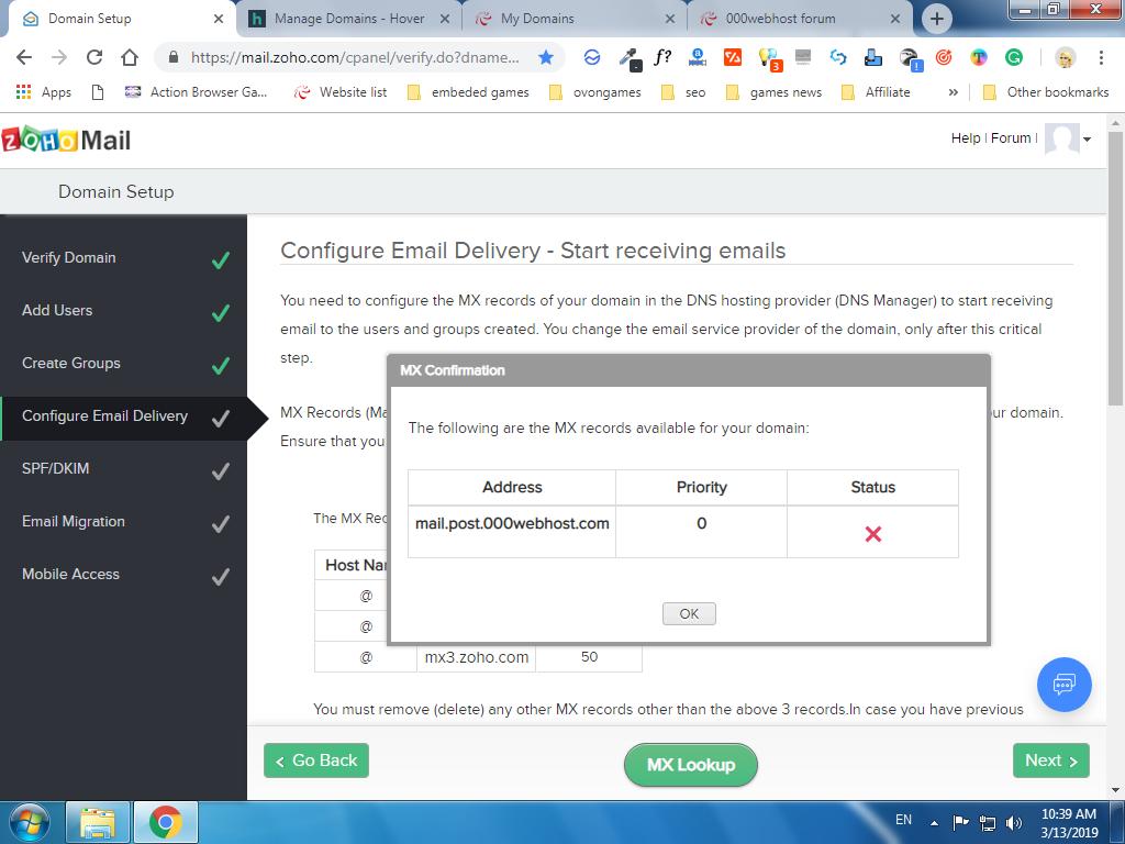 Problem setting zoho mail - Community support - 000webhost forum