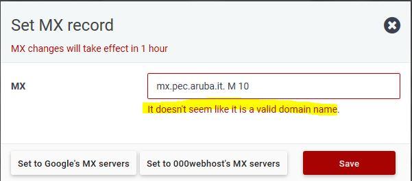Setup MX record to PEC domain - Community support