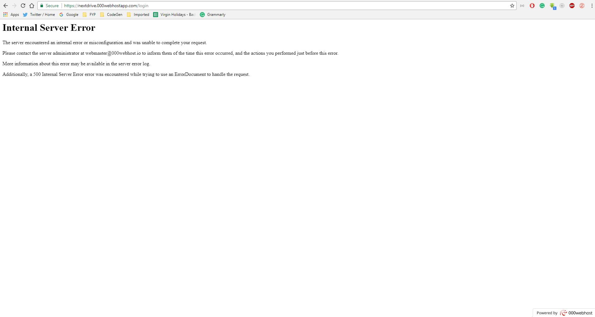 Internal Server Error on AngularJS website page refresh - Website