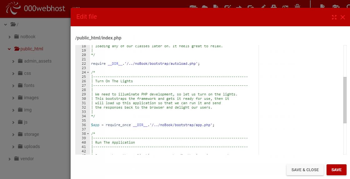 Laravel (5 5 *) and php (5 6 4) Application error (An error